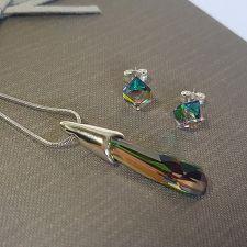 Бижута с кристали SWAROVSKI® CRYSTALACTITE 30мм, Vitrail Medium** VM, Зелен, Колие с обеци на винт, Код PR S571