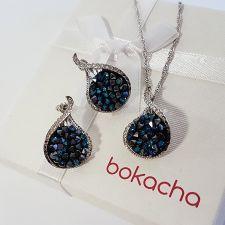 Бижута GRACE с кристали SWAROVSKI® CRYSTAL ROCK 15мм Bermuda Blue BBL - Син, Колие с обеци на винт, Код PR S565
