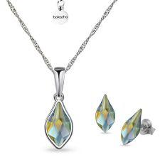 Бижута с кристали Swarovski® FLAME, Iridescent Green, 10мм - Зелен цвят, Колие и Обеци, Код PR S619B