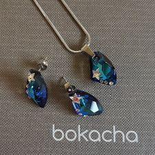 Бижута STAR инкрустирани със SWAROVSKI® GALACTIC 19мм Bermuda Blue BBL crystal, Син, Колие с обеци,  Код PR S549