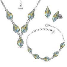 Бижута с кристали Swarovski® FLAME, Iridescent Green, 10мм - Зелен цвят, Колие,Обеци и Гривна, Код PR S619 - 3
