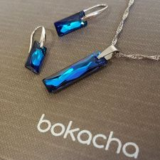 Бижута с кристали Swarovski® QUEEN Baguette, Bermuda Blue BBL, Син, Колие и Обеци (25 и 13,5 мм), Код PR S608