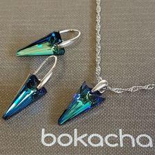 Бижута с кристали Swarovski® SPIKE 18 мм, Crystal - Bermuda Blue BBL, Син цвят, Колие и Обеци, Код PR S615