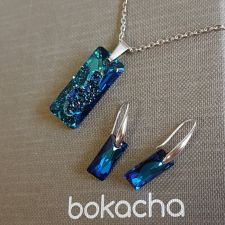Бижута с кристали Swarovski® Growing Crystal RECTANGLE, Bermuda Blue BBL, Син, Колие и Обеци (26 и 13,5 мм), Код PRFNL S609