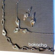 Бижута  с кристали Swarovski® KITE Колие и Обеци с английско закопчаване 14 мм, Crystal - Бял цвят, Код PR S606B