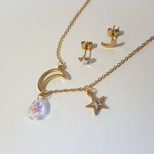Бижута MOON and STAR с кристали SWAROVSKI® BRIOLETTE 11мм, Crystal AB, Бял, Колие и Обеци, Код PR S567