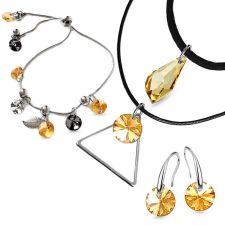 Бижута с кристали Swarovski® POLYGON DROP Golden Shadow**, Натурален, Чоукър, Обеци и Гривна (17, 8 и 8мм), Код PR S524-3