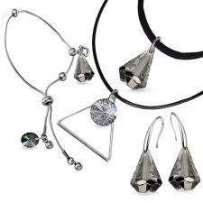 Бижута с кристали Swarovski® RAINDROP Satin**, Прозрачно черен, Чоукър, Обеци и Гривна 14мм, Код PR S513-3