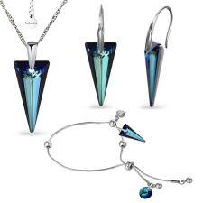 Бижута с кристали Swarovski® SPIKE 18 мм, Crystal - Bermuda Blue BBL, Син цвят, Колие, Обеци и Гривна, Код PR S615-3