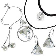 Бижута Swarovski® TRIANGLE Crystal**, Бял, Чоукър, Обеци и Гривна 12мм, Код PR S514-3