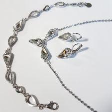 Бижута с кристали Swarovski® KITE Колие, Обеци с английско закопчаване и Гривна 14 мм, Crystal - Бял цвят, Код PR S606B-3