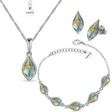 Бижута с кристали SwarovskiI® FLAME, Iridescent Green, 10мм - Зелен цвят, Колие,Обеци и Гривна, Код PR S619B - 3