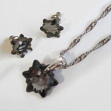 Бижута  с кристали Swarovski® EDELWEISS Колие и Обеци (14 и 10мм), Silver Night** AB - Черен, Код PR S602-A