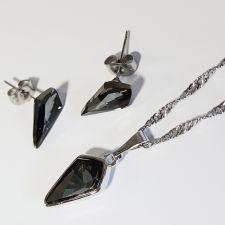 Бижута с кристали Swarovski® KITE Колие и Обеци 14мм, Silver Night** AB - Черен, Код PR S607