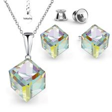 Бижута с кристали Swarovski® CUBE Crystal AB, Бял цвят, Колие 8мм и Обеци 6мм,  Код PR S418