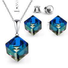 Бижута SWAROVSKI® CUBE Bermuda Blue BBL, Син цвят, Колие 8мм и Обеци 6мм,  Код PR S420