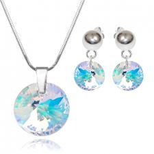 Бижута с кристали Swarovski® RIVOLI GLOBE Crystal Aurore Boreale** AB, Бял, Колие и обеци, 12мм. и 8мм,  Код PR S456