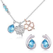 Бижута SUERTE BLUE, Колие и Обеци със SWAROVSKI® Crystals, Zerga Brand, ZG S549