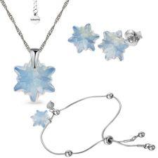 Бижута с кристали Swarovski® EDELWEISS Колие, Обеци и Гривна, (14 и10мм) White Opal - Опал, Код PR S627-3