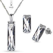 Бижута  с кристали Swarovski® QUEEN Baguette, CAL V SI, Бял цвят, Колие с обеци на винт, Код PR S563