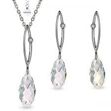 Бижута SHINE SWAROVSKI® BRIOLETTE Crystal, Бял цвят, Колие и обеци 11мм, Код PR S479