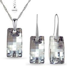 Бижута  с кристали Swarovski® URBAN CAL V SI - Бял цвят, Колие и обеци ръчна изработка, Код PR S548