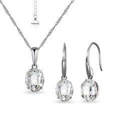 Бижута с кристали SWAROVSKI® OVAL, Crystal - Бял цвят, Колие и Обеци 8 мм, Код PR S612