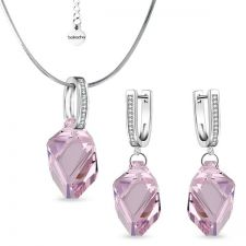 Бижута Swarovski® CUBIST, Колие и Обеци 22мм Light Amethyst, Розов цвят,  Код PR S498