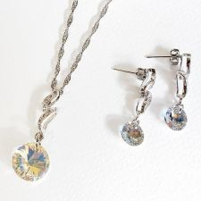 Бижута CURL SWAROVSKI® RIVOLI Crystal Aurore Boreale** AB, Бял, Колие и обеци 12 мм и 8мм,  Код PR S468
