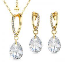 Бижута VALENTINE SWAROVSKI® MINI PEAR Crystal, Бял, Колие и Обеци 12мм, Код PR S473
