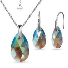 Бижута  с кристали Swarovski® PEAR DROP Black Diamond, Колие и Обеци (16 и 22 мм), Shimmer Ефект, Код PR S603