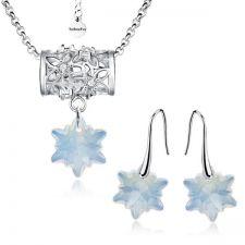 Бижута FLOWER WAY SWAROVSKI® EDELWEISS Колие и Обеци, 14мм White Opal - Опал, Код PR S470