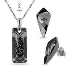 Бижута инкрустирани със SWAROVSKI® Crystal Rectangle в Silver Night** AB - Черен, Колие и обеци ръчна изработка, Код PR S558А