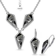 Бижута с кристали Swarovski® KITE Колие и Обеци с английско закопчаване 14мм, Silver Night** AB - Черен, Код PR S607B