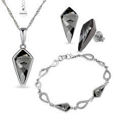 Бижута с кристали Swarovski® KITE Колие, Обеци и Гривна 14мм, Silver Night** AB - Черен, Код PR S607-3