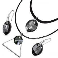 Бижута Swarovski®  LEAF 14мм Silver Night** AB - Черен, Чоукър и Обеци, Код PR S501