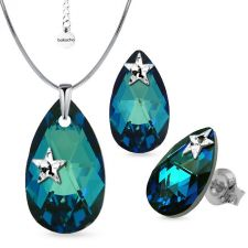 Бижута STAR декорирани със SWAROVSKI® PEAR DROP Bermuda Blue BBL, Син, Колие и Обеци, 22мм и 16мм, Код PR S578