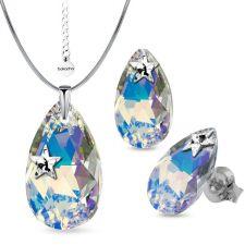 Бижута STAR декорирани със SWAROVSKI® PEAR DROP Crystal AB, Бял, Колие и Обеци, 22мм и 16мм, Код PR S552