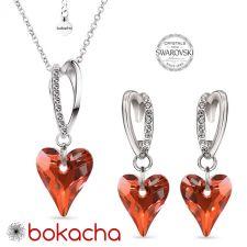 Комплект бижута VALENTINE с кристали Swarovski® WILD HEART, Red Magma**- Червен, Колие и Обеци, Код PR S691