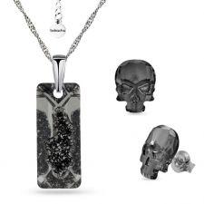 Бижута с кристали SWAROVSKI® Growing Crystal Rectangle в Silver Night** AB - Черен, Колие и обеци ръчна изработка, Код PR S558B