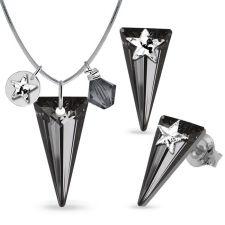 Бижута STAR декорирани със SWAROVSKI® SPIKE, Rainbow Dark - Многоцветен и Silver Night** AB - Черен, Колие и Обеци 18мм, Код PR S579