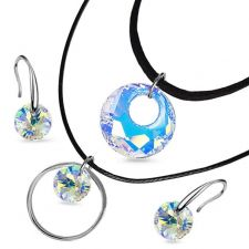 Бижута с кристали Swarovski® VICTORY Crystal Aurore Boreale** AB, Бял, Чоукър и Обеци (18 и 8мм), Код PR S515