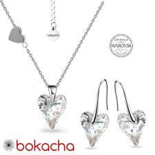 Комплект бижута LOVE STORY с кристали Swarovski® WILD HEART, Crystal - Бял, Колие и Обеци, Код PR S695