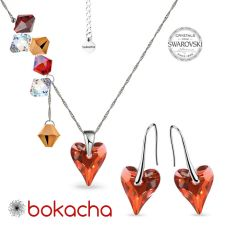 Комплект бижута CANDY WILD HEART с кристали Swarovski®, Red Magma**,Червен, Колие и Обеци, Код PR S690