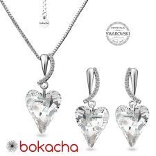 Комплект бижута CRYSTAL с кристали Swarovski® WILD HEART, Crystal, Бял, Колие и Обеци, Код PR S694
