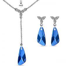 Бижута PASSION Swarovski®  Wing Capri Blue - Син, Колие и Обеци, Код PR S488