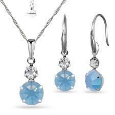 Бижута MAGIC с кристали SWAROVSKI® CHATON, Air Blue Opal, Син цвят, Колие и обеци,  Код PR S572