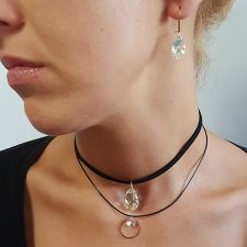 Чоукър колие Charming Choker Swarovski® BIG PEAR DROP 22мм Crystal AB, Бял, Код PR N522