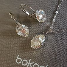 Бижута  с кристали Swarovski® OVAL TRIBE 14мм Crystal AB, Бял цвят, Колие и обеци с английско закопчаване, Код PR S562B