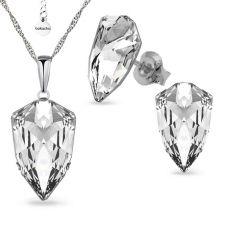 Бижута SWAROVSKI® SLIM TRILLIANT Crystal, Бял цвят, Колие с обеци на винт ръчна изработка, Код PR S547